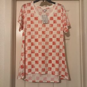 Lularoe Christy T - Red Checker Pattern - Large
